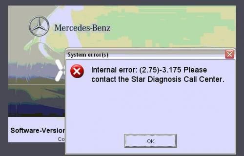 Xentry Fault (2.75)-3.175 error fix Mercedes Star Diagnosis Tool