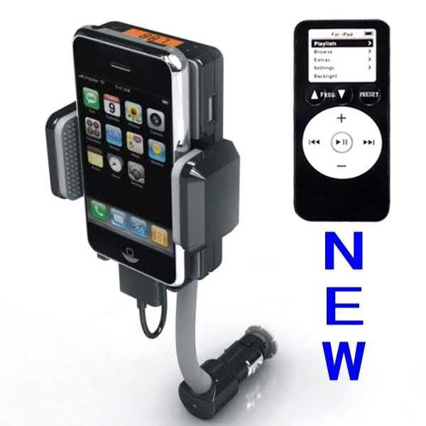 Dc 12v, Vehicle Power Black Fm Transmitter + Car Charger For Iphone 3gs 3g Ipod Touch